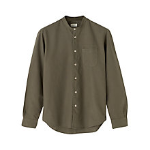 Buy Jigsaw Garment Dye Grandad Collar Shirt, Khaki Online at johnlewis.com