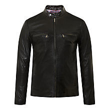 Buy Ted Baker Pablo Leather Jacket, Black Online at johnlewis.com