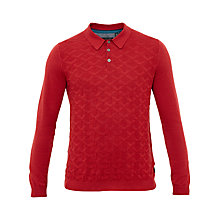 Buy Ted Baker Electro Jacquard Knitted Long Sleeve Polo Shirt, Orange Online at johnlewis.com