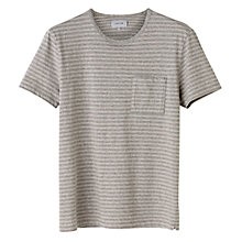 Buy Jigsaw Tonal Stripe Crew Neck T-Shirt, Grey Online at johnlewis.com