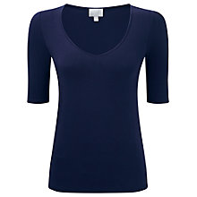 Buy Pure Collection Addison Soft V Neck Top, Navy Online at johnlewis.com