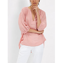 Buy Jaeger Linen Tunic Top, Blush Online at johnlewis.com