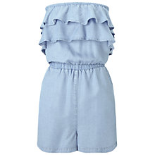 Buy Miss Selfridge Denim Frill Playsuit, Bleached Denim Online at johnlewis.com