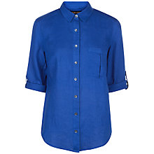 Buy Jaeger Linen Classic Blouse, Bright Blue Online at johnlewis.com