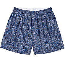Buy Sunspel Classic Cotton Liberty Print Boxer Shorts, Navy Online at johnlewis.com
