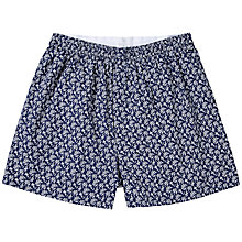 Buy Sunspel Lace Floral Classic Cotton Boxer Shorts, Navy Online at johnlewis.com