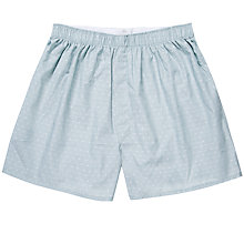 Buy Sunspel Classic Cotton Dot Boxer Shorts, Blue Online at johnlewis.com