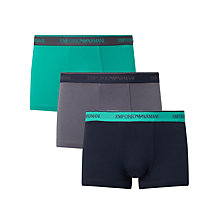 Buy Emporio Armani Contrast Waistband Trunks, Pack of 3, Green/Grey/Navy Online at johnlewis.com