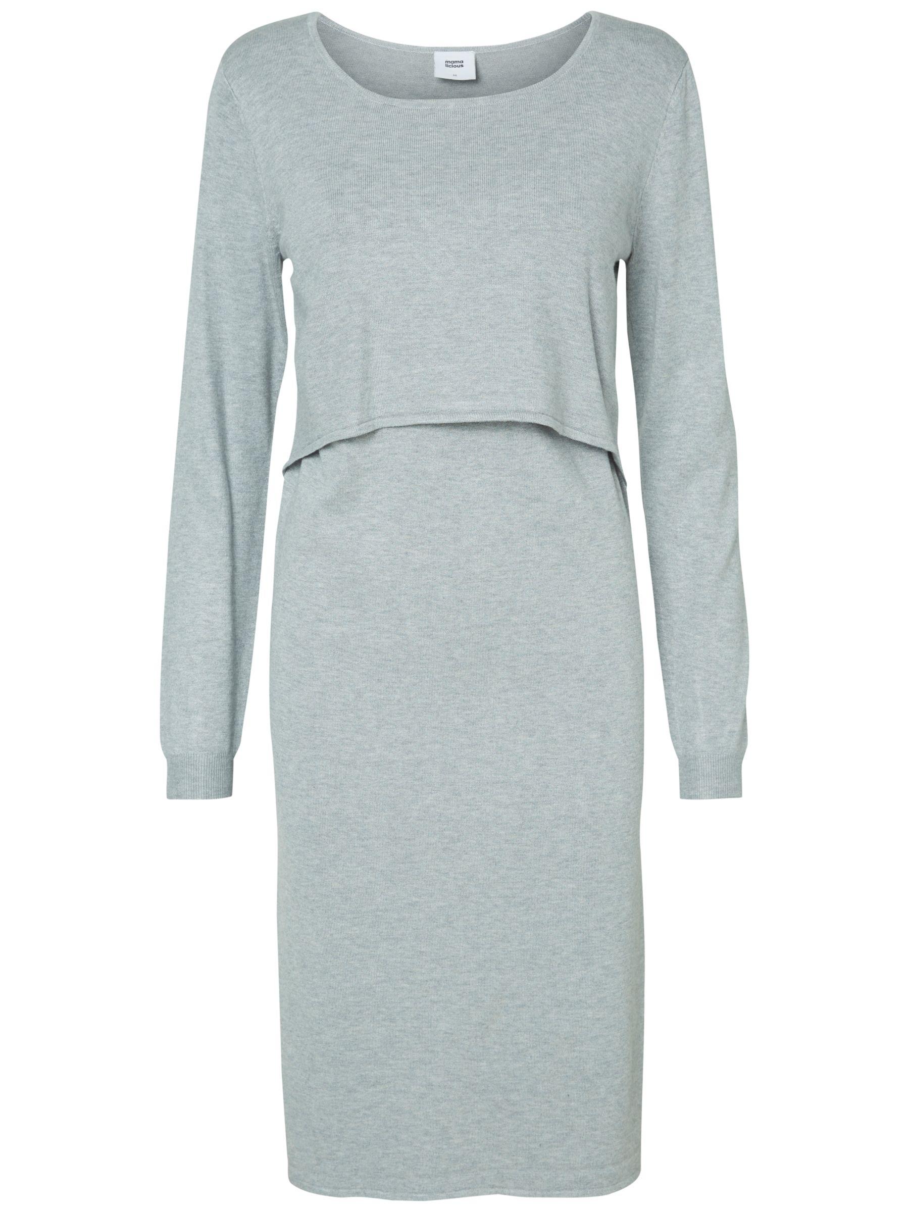 Mamalicious Mamalicious Long Sleeved Knit Maternity Nursing Dress, Light Grey