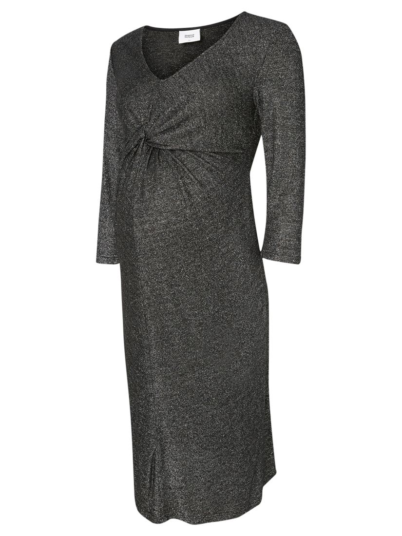 Mamalicious Mamalicious Glitter 3/4 Jersey Maternity Dress, Dark Grey