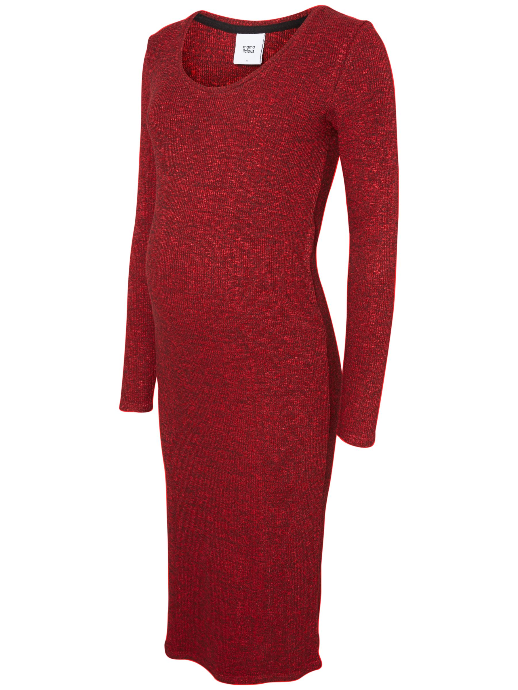 Mamalicious Mamalicious Redo Ribbed Knit Maternity Dress, Red
