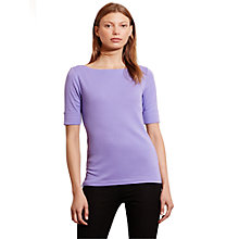Buy Lauren Ralph Lauren Benny Boat Neck Top, Cassis Purple Online at johnlewis.com