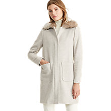 Buy Lauren Ralph Lauren Faux Fur Collar Coat, Platinum Heather Online at johnlewis.com