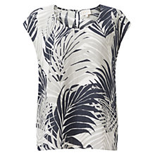Buy East Palm Print Linen Top, Black Online at johnlewis.com