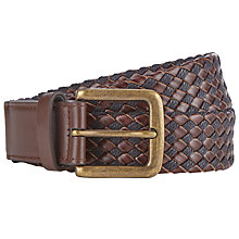 Buy John Lewis Leather Canvas Belt, Brown Online at johnlewis.com
