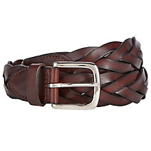 Buy John Lewis Full Grain Leather Plaited Belt, Brown Online at johnlewis.com