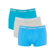 Buy Calvin Klein Low Rise Solid Trunks, Pack of 3, Blue/Green/Grey Online at johnlewis.com