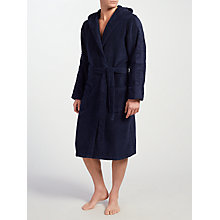Buy Calvin Klein Cotton Terry Hooded Robe, Navy Online at johnlewis.com