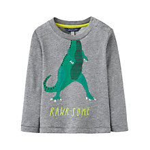 Buy Baby Joule Dinosaur Applique Top, Grey Online at johnlewis.com