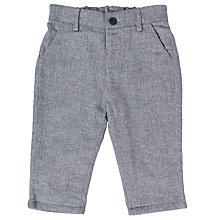 Buy John Lewis Baby Herringbone Trousers, Navy Online at johnlewis.com