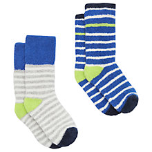 Buy Baby Joule Striped Terry Towelling Socks, Pack of 2, Blue Online at johnlewis.com