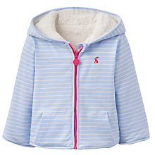 Buy Baby Joule Cosette Striped Fleece Jacket, Blue/White Online at johnlewis.com