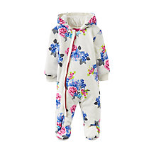 Buy Baby Joule Snug Floral Pramsuit, Cream/Blue Online at johnlewis.com