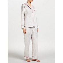 Buy DKNY Striped Fleece Pyjama Set, Grey/Multi Online at johnlewis.com