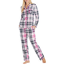 Buy DKNY Check Fleece Pyjama Set, Blue/Multi Online at johnlewis.com