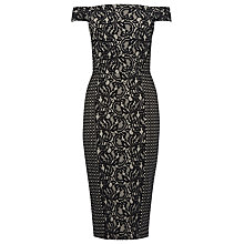 Buy Warehouse Patchwork Lace Dress, Black Online at johnlewis.com