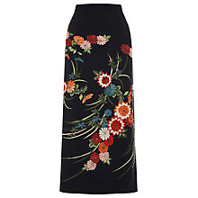 Buy Warehouse Split Side Floral Midi Skirt, Black Online at johnlewis.com