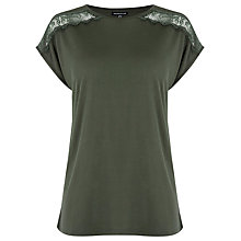 Buy Warehouse Lace Mix T-Shirt Online at johnlewis.com