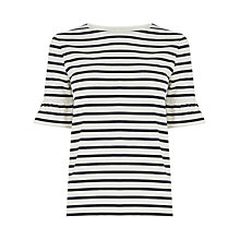 Buy Warehouse Stripe Flute Sleeve Tee, Blue Online at johnlewis.com