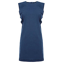 Buy Warehouse Denim Ruffle Sleeve Dress, Blue Online at johnlewis.com