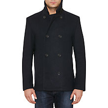 Buy Original Penguin Double Faced Melton Pea Coat, Dark Sapphire Online at johnlewis.com