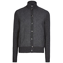Buy Hackett London Tweed Front Cardigan, Charcoal Online at johnlewis.com