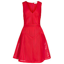 Buy Reiss Topaz Textured Fit And Flare Dress, Ruby Online at johnlewis.com