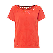 Buy White Stuff Ora Joyce Embroidered Jersey T-Shirt, Indian Orange Online at johnlewis.com