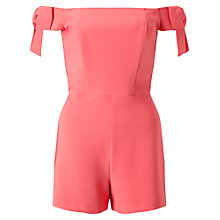 Buy Miss Selfridge Petite Bow Sleeve Playsuit, Pink Online at johnlewis.com