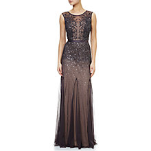 Buy Adrianna Papell Petite Long Beaded Gown, Gunmetal Online at johnlewis.com