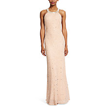 Buy Adrianna Papell Petite Caviar Sheer Back Dress, Taupe/Pink Online at johnlewis.com