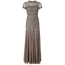 Buy Adrianna Papell Petite Short Sleeve Beaded Godet Gown, Lead Online at johnlewis.com