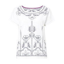Buy White Stuff Joyce Contrast Embroidered Jersey T-shirt, White Online at johnlewis.com