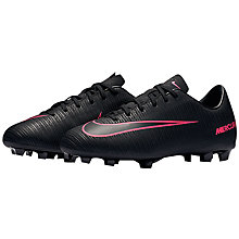 Buy Nike Children's Mercurial Vapor Lace Football Boots, Black/Pink Online at johnlewis.com