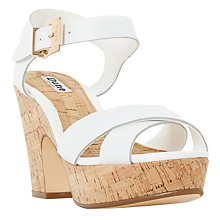 Buy Dune Iyla Block Heeled Cross Strap Platform Sandals, White Online at johnlewis.com