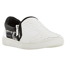 Buy Dune Edgar Zip Slip On Trainers, White Reptile Online at johnlewis.com