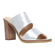 Buy Carvela Krow Leather Block Heeled Sandals, Silver Online at johnlewis.com
