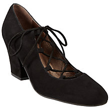 Buy John Lewis Aggie Lace Up Block Heel Court Shoes, Black Suede Online at johnlewis.com