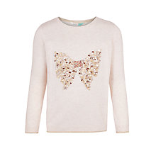 Buy John Lewis Girls' Bow Sequin Jumper, Oatmeal Online at johnlewis.com