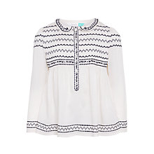 Buy John Lewis Girls' Embroidered Blouse, Gardenia Online at johnlewis.com